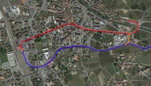 En rouge le tronçons AL à supprimer, en bleu le tronçon commun ASD existant, en orange le raccordement AL-ASD.