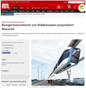 Bientôt un monorail au Luxembourg ?  Comme à Villeneuve ?