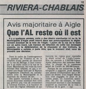 Il y a 34 ans, la Municipalité d'Aigle souhaitait le transfert de l'AL sur l'ASD...