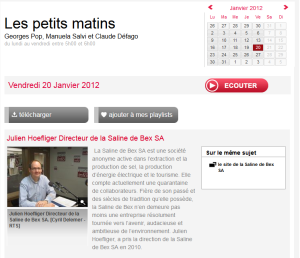 Les petits matins. RTS 20 janvier 2012